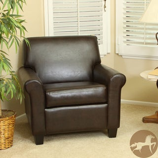 Christopher Knight Home Yonkers Chocolate Brown Bonded Leather Club Chair