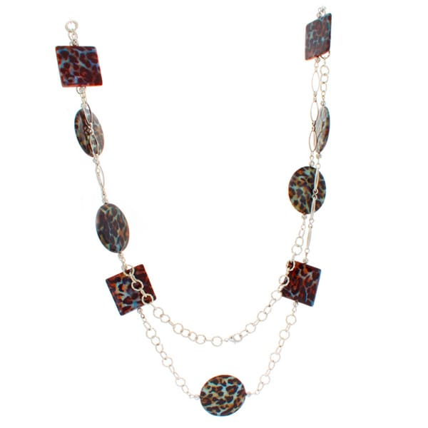 NEXTE Jewelry Circle and Square Leopard Print Lucite Necklace