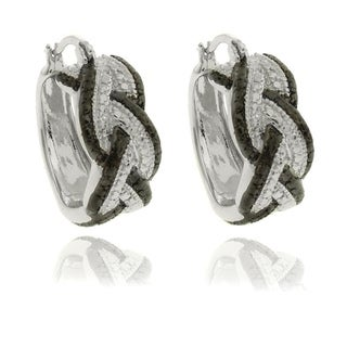 Finesque Diamond Accent Black and White Braided Hoop Earrings