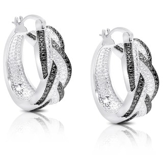 Finesque Diamond Accent Black and White Braided Hoop Earrings with Red Bow Gift Box
