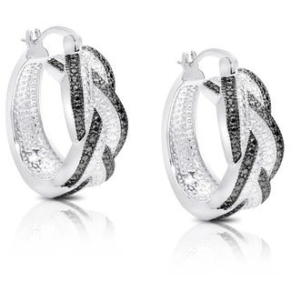 Diamond Accent Braided Hoop Earrings with Gift Box