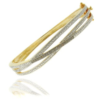 Finesque 18k Gold Overlay 1/4ct Diamond Twist Bangle Bracelet