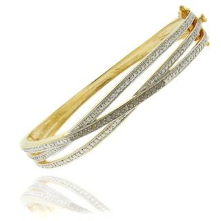 Finesque 18k Gold Overlay 1/4ct Diamond Twist Bangle Bracelet