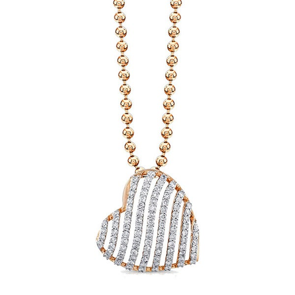 Victoria Kay 14k Rose Gold 1/2ct TDW Striped Heart Diamond Necklace 9485465