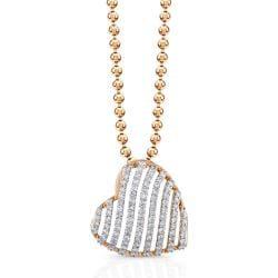 Victoria Kay 14k Rose Gold 1/2ct TDW Striped Heart Diamond Necklace (IJ, I1-I2)