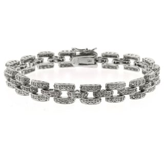 Finesque Silver Overlay Diamond Accent Panther Bracelet
