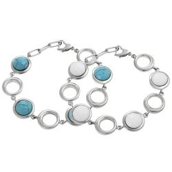 Journee Collection Stainless Steel Enamel Stone Bracelet