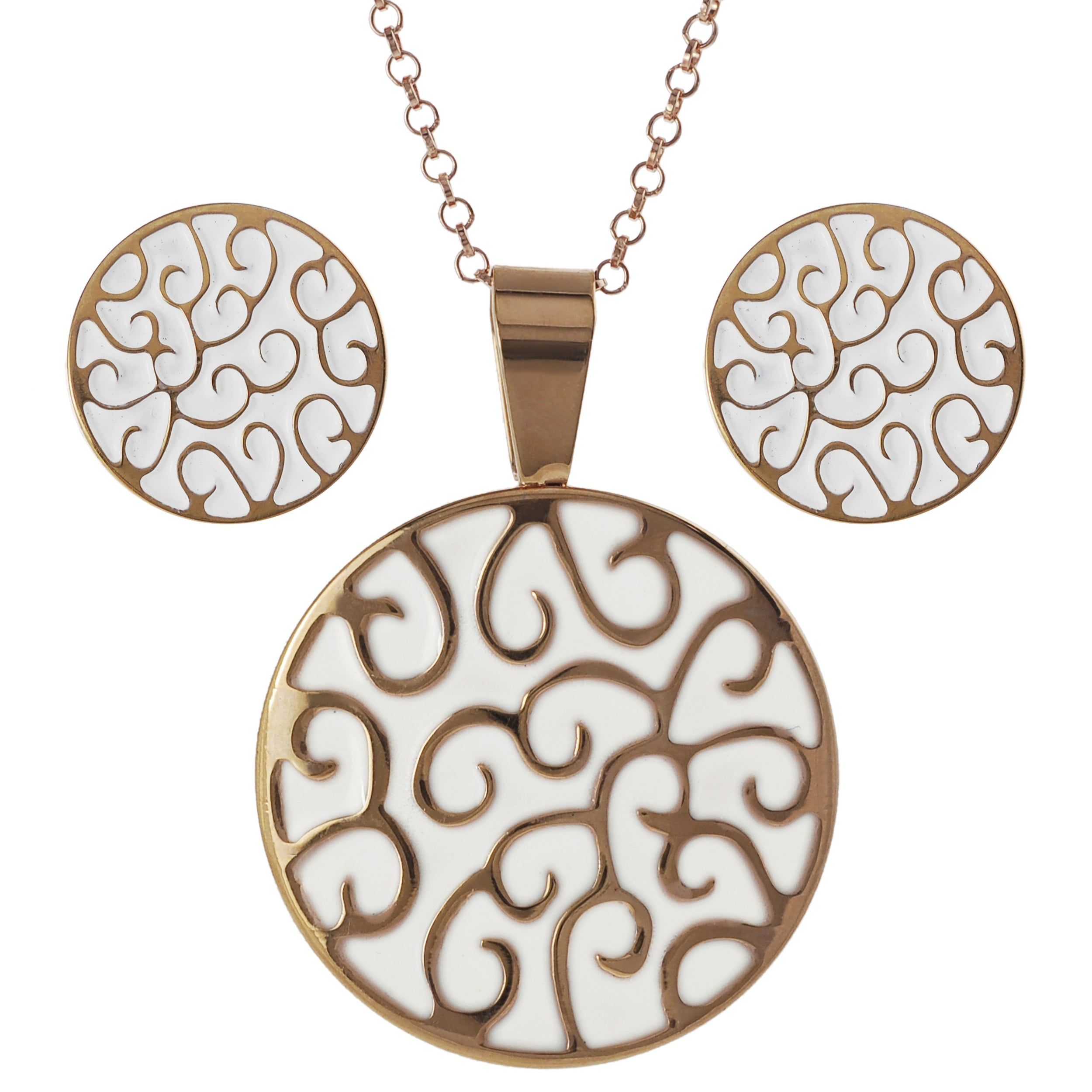 Journee Collection Coppertone Steel Enamel Necklace and Earring Set