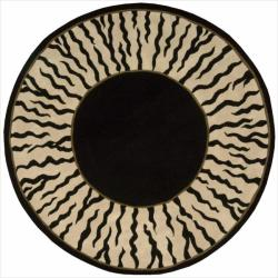 Nourison Hand-tufted Dimensions Black Rug (5'9 x 5'9) Round