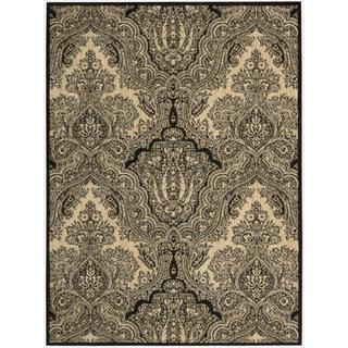 Nourison Joseph Abboud Majestic Black/ Beige Paisley Wool Rug (5'3 x 7'5)