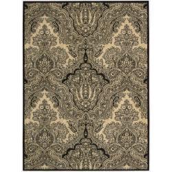 Nourison Joseph Abboud Majestic Black/ Beige Paisley Wool Rug (9'6 x 13')