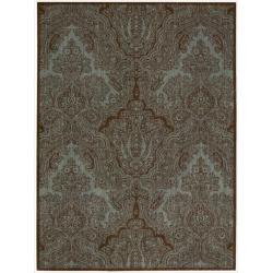 Nourison Joseph Abouud 'Majestic Teal/ Chocolate Paisley Wool Rug (9'6x 13')