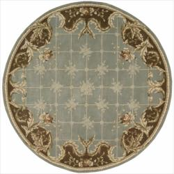 Nourison Hand-tufted Julian Light Blue Wool Rug (6' Round)
