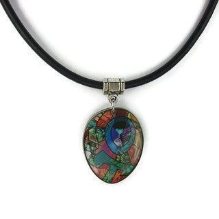 Abstract Greek Leather Necklace