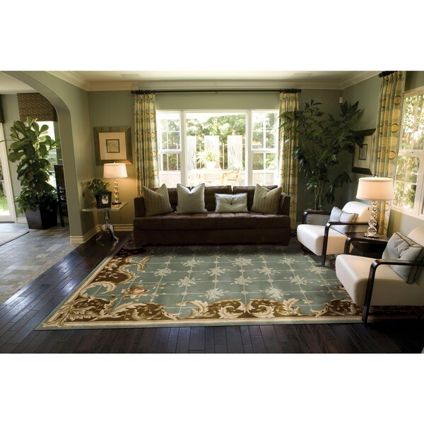 Nourison Hand-tufted Julian Light Blue Wool Rug (8' x 11')