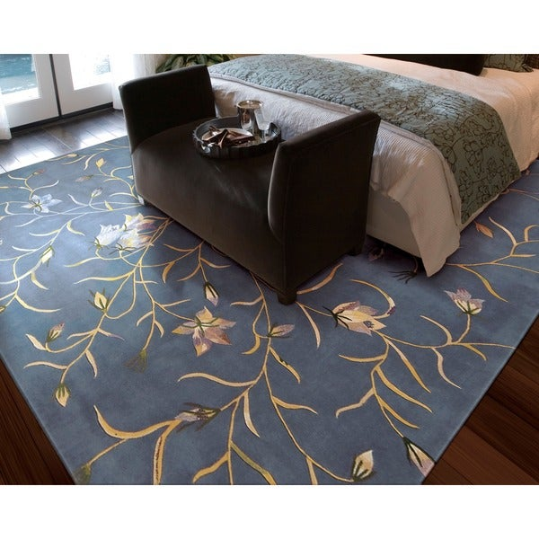 Nourison Hand-tufted Julian Floral Light Blue Wool Rug (8' x 11')