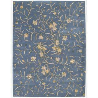 Nourison Hand-tufted Julian Floral Light Blue Wool Rug (8' x 11')