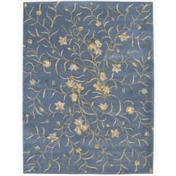 Nourison Hand-tufted Julian Floral Light Blue Wool Rug (7'6 x 9'6)