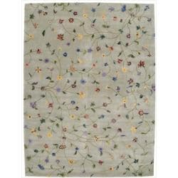 Nourison Hand-tufted Julian Light Green Wool Rug (7'6 x 9'6)