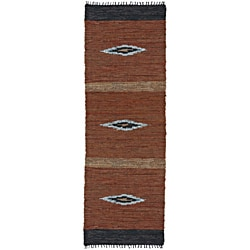 Hand Woven Matador Diamonds Leather Runner (2'6 x 12)