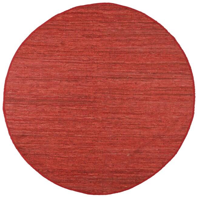 Hand Woven Matador Copper Leather Rug (6 x 6 Round)