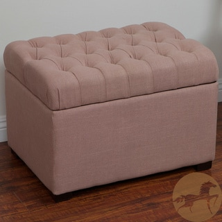 Christopher Knight Home Hyde Salmon Pink Fabric Storage Ottoman
