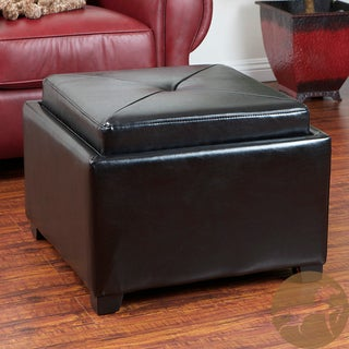 Christopher Knight Home Paddington Black Bonded Leather Chessboard Storage Ottoman