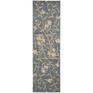 Nourison Hand-tufted Julian Floral Light Blue Wool Rug (2'3 x 8')