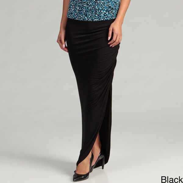 Tabeez Women's Side Ruched Pencil Maxi Skirt
