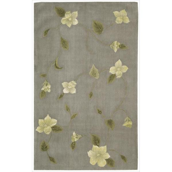 Nourison Hand-tufted Julian Floral Stone Wool Rug (5'3 x 8'3)