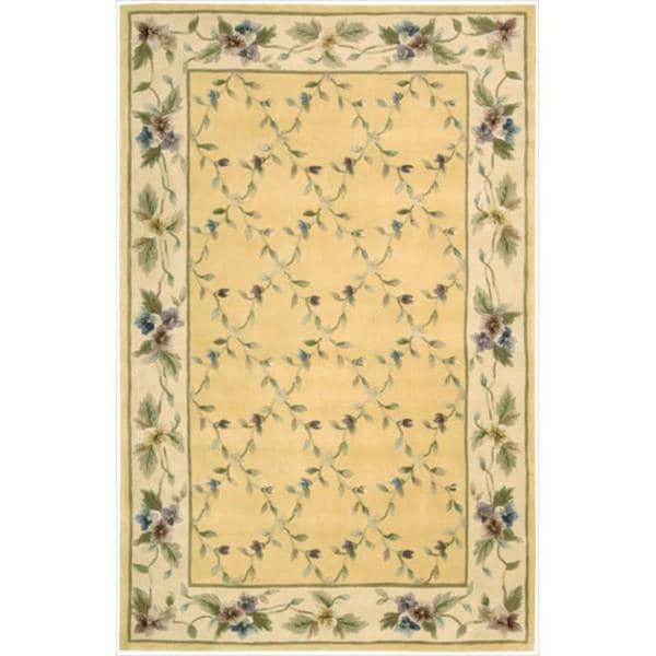 Nourison Hand-tufted Julian Yellow Wool Rug (5'3 x 8'3)
