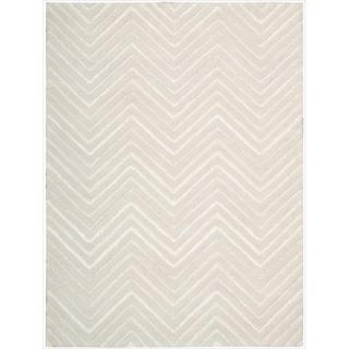 Nourison Joseph Abboud Hand-tufted Modelo Triangle Wave White Rug (7'6 x 9'6)