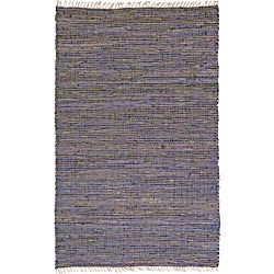 Hand-woven Matador Purple Leather and Hemp Rug (4' x 6')