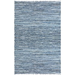 Hand-woven Matador Denim and Leather Rug (4' x 6')