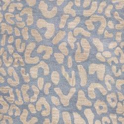 Hand-tufted Pale Blue Leopard Bordeaux Animal Print Wool Rug (2' x 3')