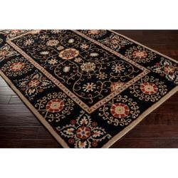 Hand-tufted Black Paisley Bordered Bloomer Wool Rug (2' x 3')