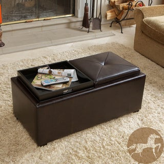 Christopher Knight Home Maxwell Brown Bonded Leather Double Tray Ottoman