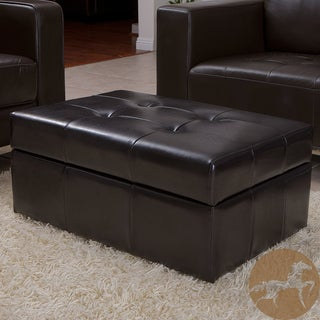 Christopher Knight Home Veranda Espresso Bonded Leather Storage Ottoman