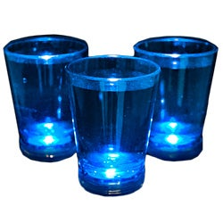 Blue Shot Glass with Blinking LED Light (Case of 24)