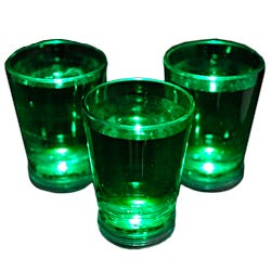 Green Shot Glass with Blinking LED Light (Case of 24)
