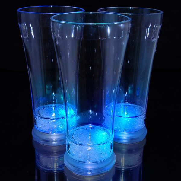 Light Up Pilsner Glass with Blue LEDs (Set of 12)