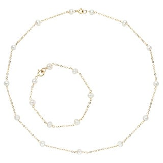 Pearlyta 14k Yellow Gold White Freshwater Pearl Jewelry Set (4-5 mm)