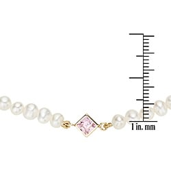 Pearlyta 14k Yellow Gold overlay Freshwater Pearl and Pink CZ Kids Necklace (4-5 mm)