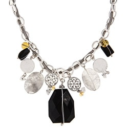Alexa Starr Silvertone Onyx and Cloudy Crystal Necklace