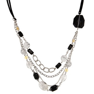 Alexa Starr Silvertone Onyx, Howlite, Crystal and Glass Necklace