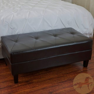 Christopher Knight Home Cheshire Espresso Bonded Leather Bench Ottoman