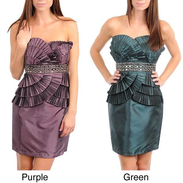 Stanzino Women's Strapless Pleat Detailing Dress