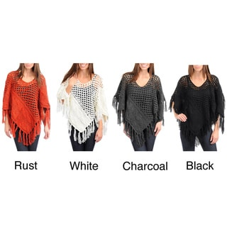 Stanzino Women's Crocheted Poncho with Tassel Detail