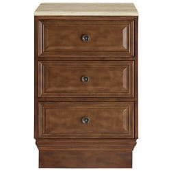 Silkroad Exclusive Cherry Antiqued Brass Bathroom Vanity Side Cabinet Drawer Bank