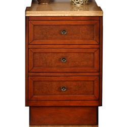 Silkroad Exclusive English Chestnut Antiqued Brass Bathroom Vanity Side Cabinet Drawer Bank